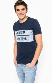 Хлопковая футболка с контрастным принтом Hilfiger Denim