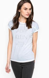Голубая футболка с короткими рукавами Calvin Klein Jeans