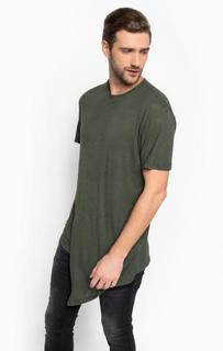 Удлиненная футболка цвета хаки Alcott