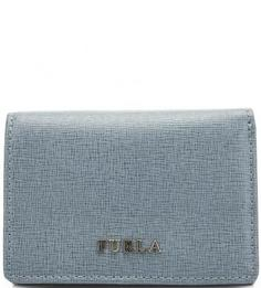 Синий кожаный кошелек с откидным клапаном Furla