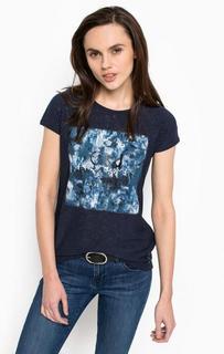 Синяя футболка с круглым вырезом Calvin Klein Jeans