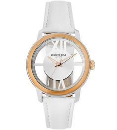 Часы с белым кожаным браслетом Kenneth Cole