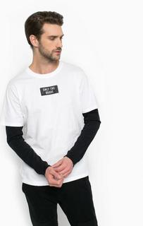 Хлопковая футболка с контрастными рукавами Diesel