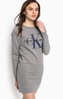 Серое короткое хлопковое платье Calvin Klein Jeans