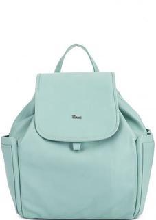 Однотонный кожаный рюкзак мятного цвета Bruno Rossi
