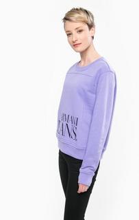 Фиолетовый свитшот из хлопка и полиэстера Armani Jeans