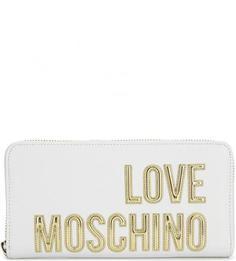 Белый кошелек с логотипом бренда Love Moschino