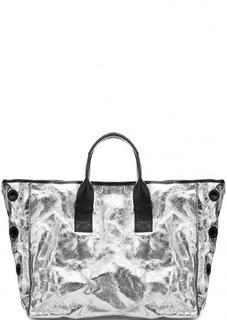 Вместительная кожаная сумка с металлическим декором Io Pelle