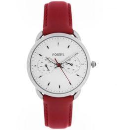 Часы с кожаным ремешком красного цвета Fossil