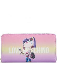 Разноцветный кошелек на молнии Love Moschino