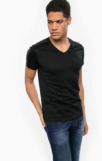 Хлопковая футболка с кожаными вставками Diesel