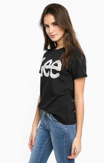 Хлопковая футболка черного цвета Lee