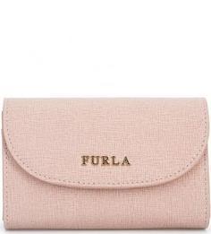 Кожаная визитница розового цвета Furla