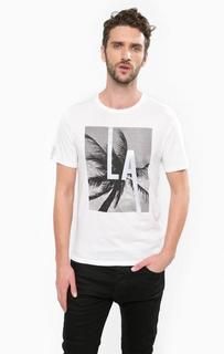 Хлопковая футболка с контрастным принтом Guess