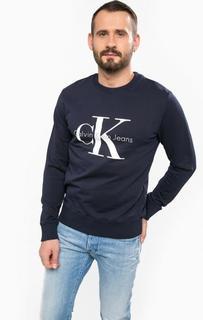 Синий свитшот из хлопка Calvin Klein Jeans