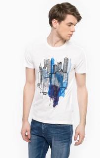 Хлопковая футболка с принтом и вышивкой Hilfiger Denim