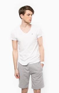 Белая футболка с треугольным вырезом Hilfiger Denim