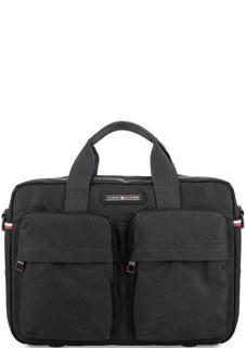 Черная текстильная сумка с одним отделом на молнии Tommy Hilfiger
