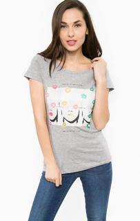 Хлопковая футболка с принтом и стразами Gaudi