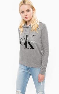 Серая толстовка из хлопка в капюшоном Calvin Klein Jeans