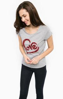 Хлопковая футболка с пайетками и вышивкой Gaudi