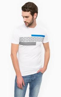 Белая футболка с контрастным принтом Antony Morato
