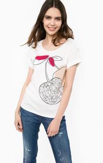 Хлопковая футболка с декоративной отделкой Liu Jo