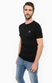 Черная хлопковая футболка с нашивкой Antony Morato