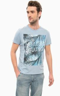Голубая футболка с принтом Wrangler