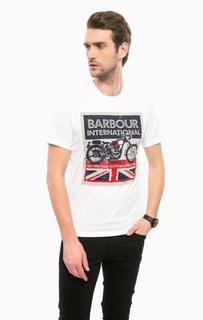 Белая хлопковая футболка с принтом Barbour