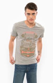 Серая футболка с треугольным вырезом Blend
