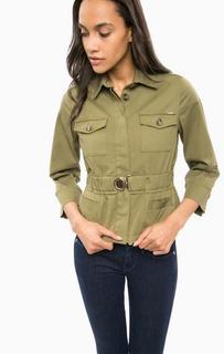 Куртка цвета хаки на пуговицах Guess