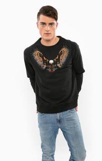 Черный хлопковый свитшот с вышивкой Drykorn