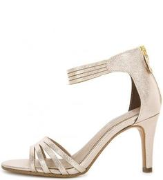 Босоножки на каблуке золотистого цвета S.Oliver