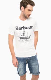 Белая футболка из хлопка с принтом Barbour