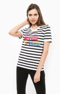 Плотная футболка из хлопка в полоску Lacoste