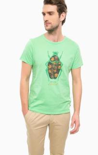 Зеленая хлопковая футболка Scotch&Soda
