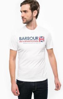 Белая хлопковая футболка Barbour