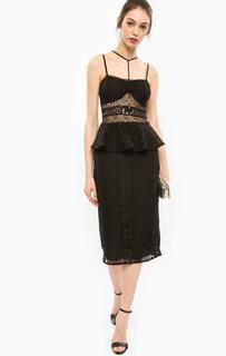 Кружевное черное платье с баской Marciano Guess