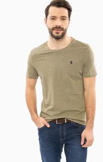 Хлопковая футболка цвета хаки U.S. Polo Assn.