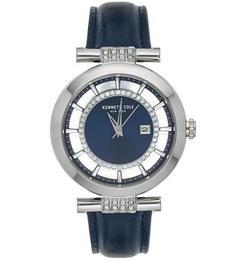 Часы с синим браслетом и отделкой стразами Kenneth Cole