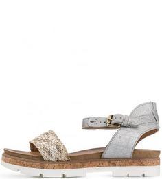 Кожаные сандалии с плетеными вставками Mjus