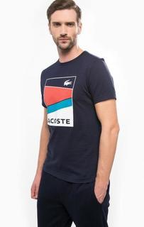Синяя футболка из хлопка с принтом Lacoste