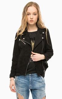 Черная замшевая куртка на молнии Replay