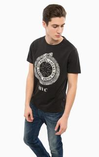 Черная футболка с круглым вырезом Replay