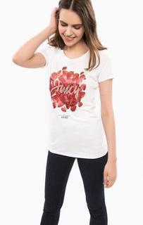 Белая футболка из хлопка с ярким принтом Liu Jo