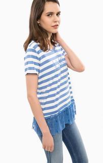 Синяя футболка в полоску и горошек Liu Jo