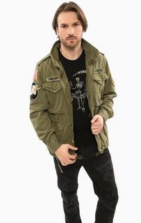 Хлопковая куртка цвета хаки с нашивками D&S Ralph Lauren