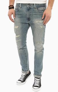 Синие зауженные джинсы с заплатами D&S Ralph Lauren
