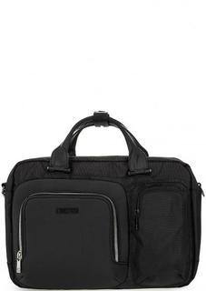 Черная текстильная сумка с большим количеством карманов Bikkembergs